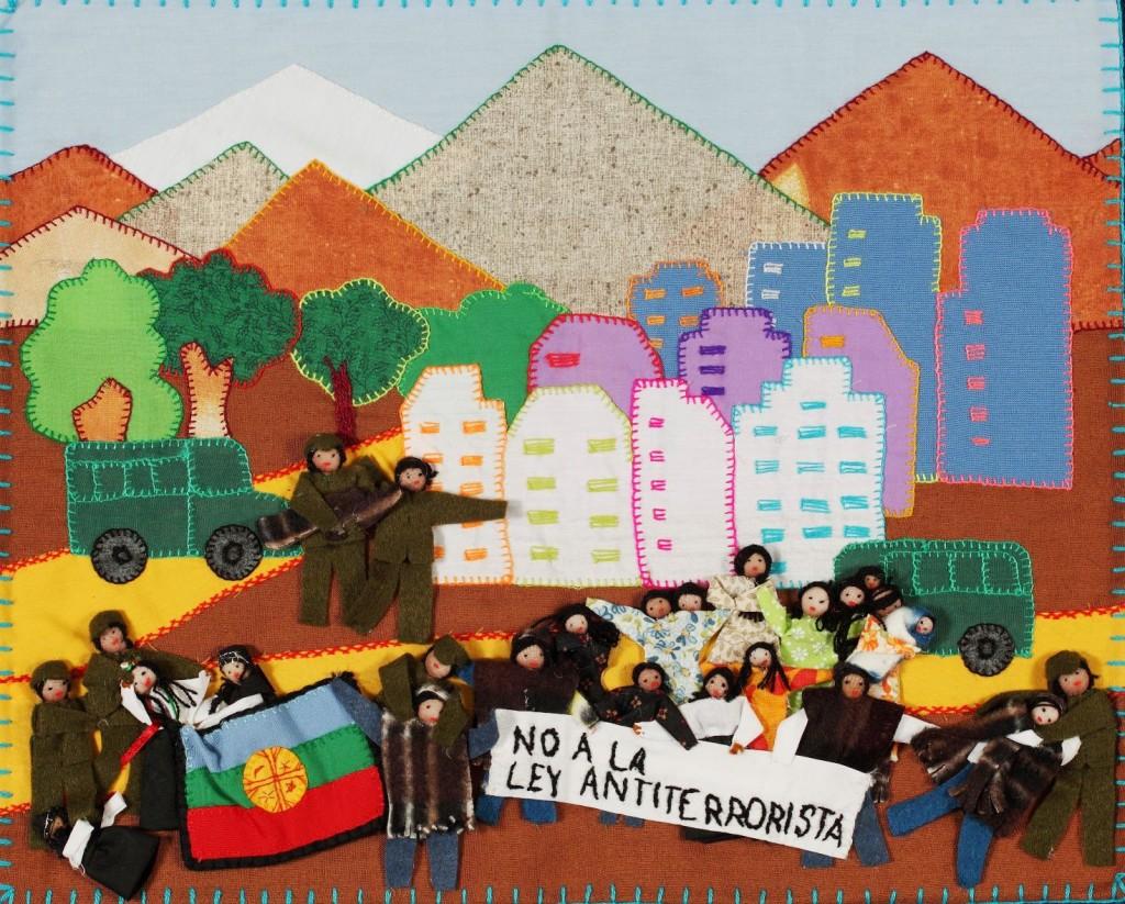 NO a la ley antirrerorista/NO to the antiterrorist law Chilean arpillera, Aurora Ortiz, 2011. Photo Martin Melaugh