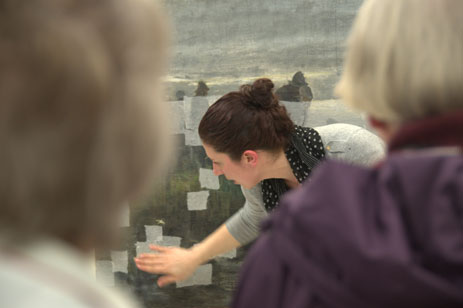 Tijana Cvetkovic, Conservator Paintings explains progress of the conservation treatment for the painting Marken funeral barge.