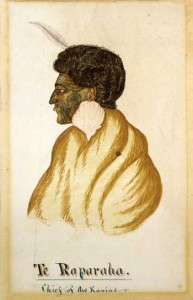 Hall, R, fl 1840s. Hall, R., fl 1840s :Te Raparaha, chief of the Kawias. [After 1843]. Ref: A-114-047. Alexander Turnbull Library, Wellington, New Zealand.