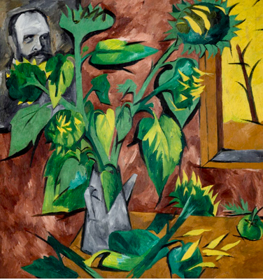 Sunflowers and portrait circa 1908-1909. Natalia S. Goncharova. Gift of Mme Larionov, Paris 1973