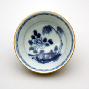 Artist unknown. Teabowl, about 1750, porcelain, underglaze cobalt-blue decoration.Purchased 1986 with Charles Disney Art Trust funds. Te Papa (CG001702/OA)