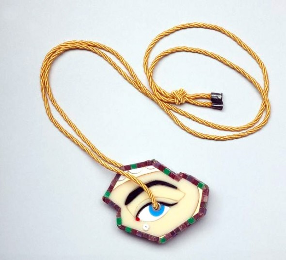 Octavia Cook, Abstract R.E.G.A.R.D. pendant, 2012, acrylic, epoxy, resin, oxidised sterling silver, cubic zirconia, cord. Purchased 2012. Te Papa (2012-0008-1)